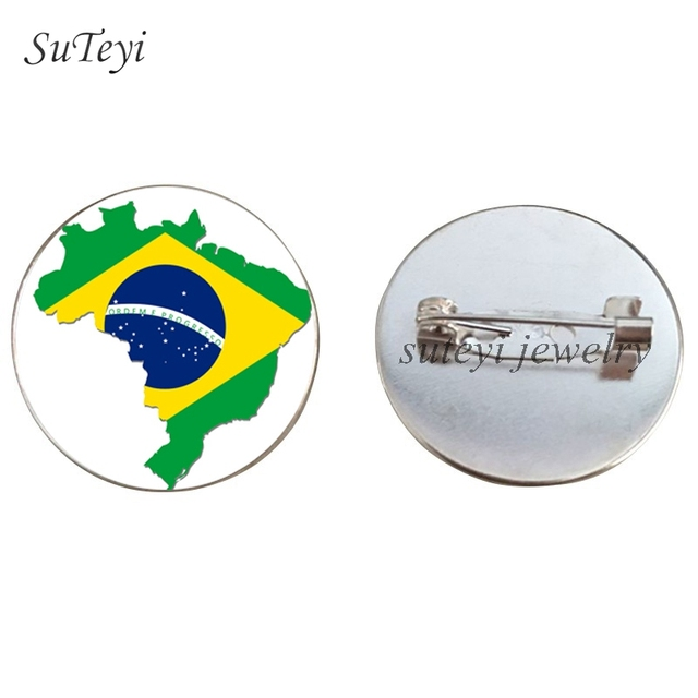 Suteyi South American Countries Flag Badges Pins Brooch Argentina/Paraguay/Brazil/Bolivia Glass Dome Brooches Jewelry Women Gift by Ali Express