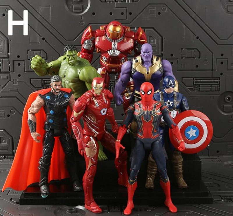2018 Superheld The Avengers actionfigur set Spielzeug 18 cm Spiderman Captain America Hulk Marvel spielzeug 7 teile/los