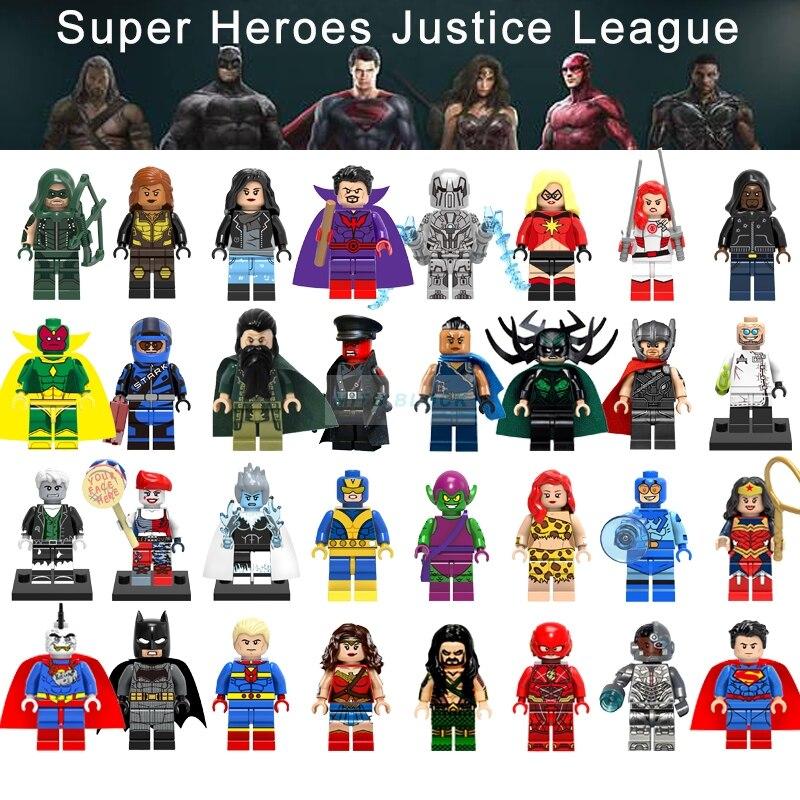 Legoinglys ליגת צדק סרט סופר גיבורי באטמן אשת חיל Aquaman Cyborg סופרמן דמויות נוקמי דגם אבני בניין