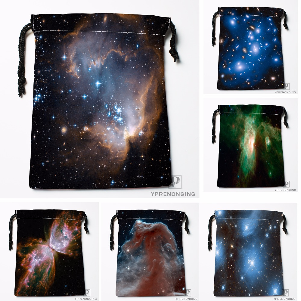 Custom Cool Shining Stars Space Drawstring Bags Travel Storage Mini Pouch Swim Hiking Toy Bag Size 18x22cm#0412-04-28