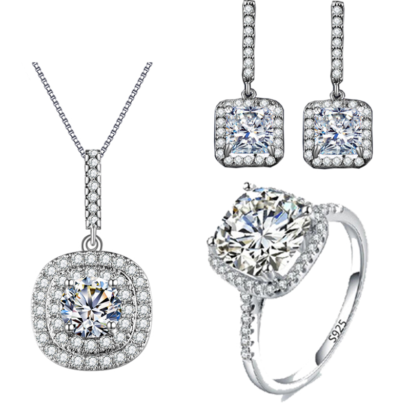Square Vintage Bridal Earring And Necklace Sets AAA Cubic Zis
