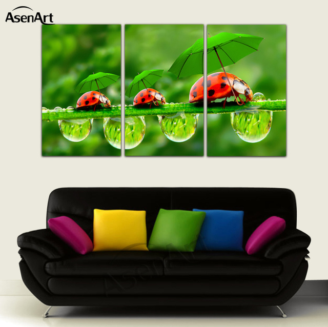 Canvas Oil Prints Art Picture Funny Ladybug Green Umbrella Paintings