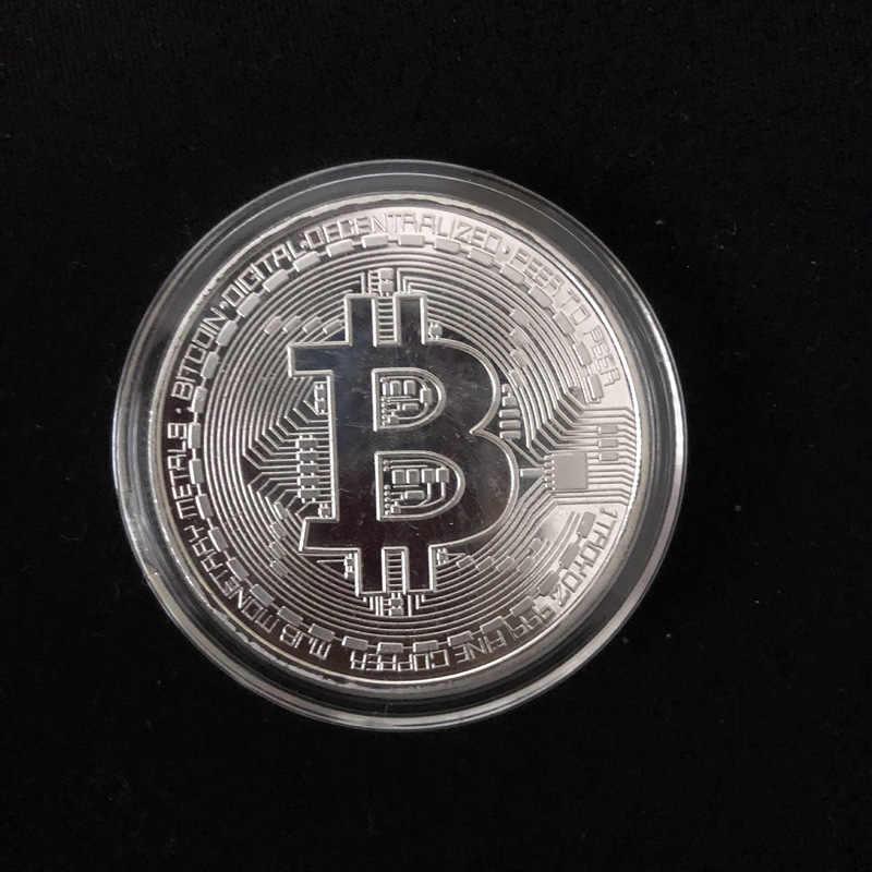 Placcato oro Fisico Bitcoin Bit Moneta BTC Con La Cassa Del Regalo Fisica In Metallo Antico Imitazione BTC Moneta Collezione D'arte