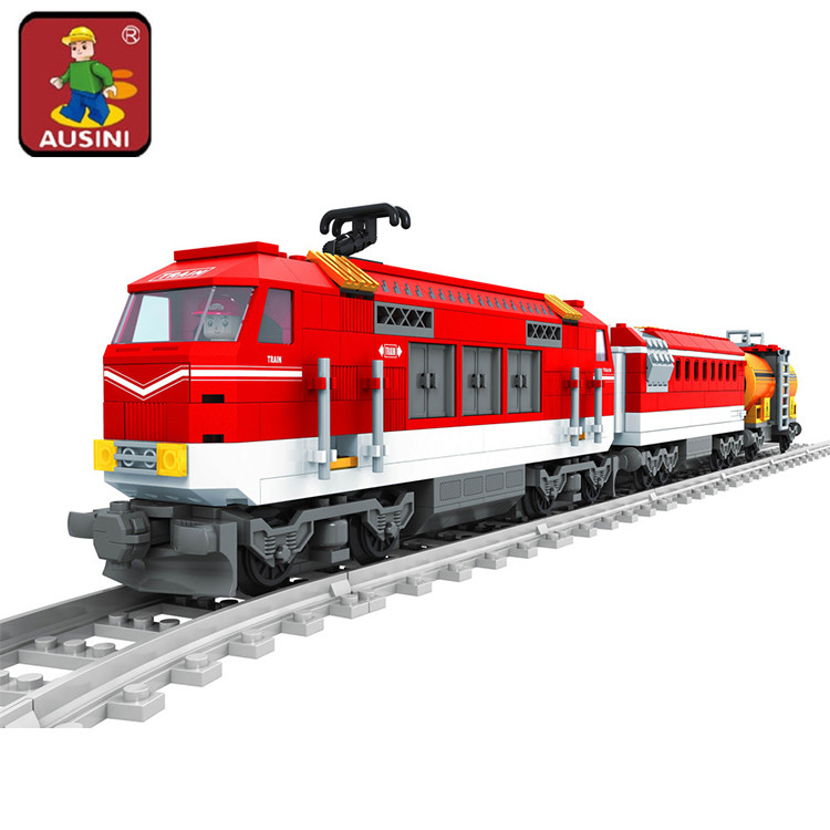 AUSINI 588pcs City Series Train with Tracks Building Blocks Railroad Conveyance Kids Model Bricks Toys brinquedos for children kazi 608pcs pirates armada flagship building blocks brinquedos caribbean warship sets the black pearl compatible with bricks
