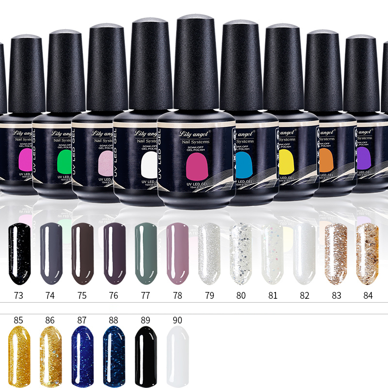 Lily angel 90 Colores 15 ml Soak-off Lacquer Manicure Uñas Esmalte en gel UV LED Esmalte en gel Barniz Nail Art Semi Permane 63-90