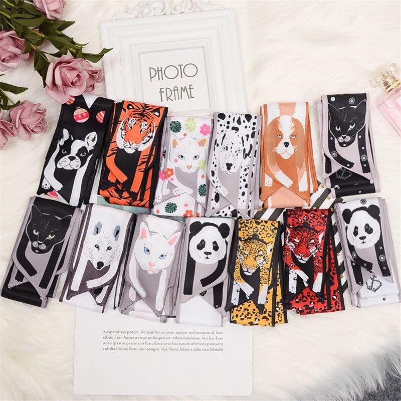 13 Animals Cheetah Skinny Silk Scarf 2020 New Bag Scarf For Women Luxury Brand Foulard Tie Fashion Head Scarves For Ladies Girls