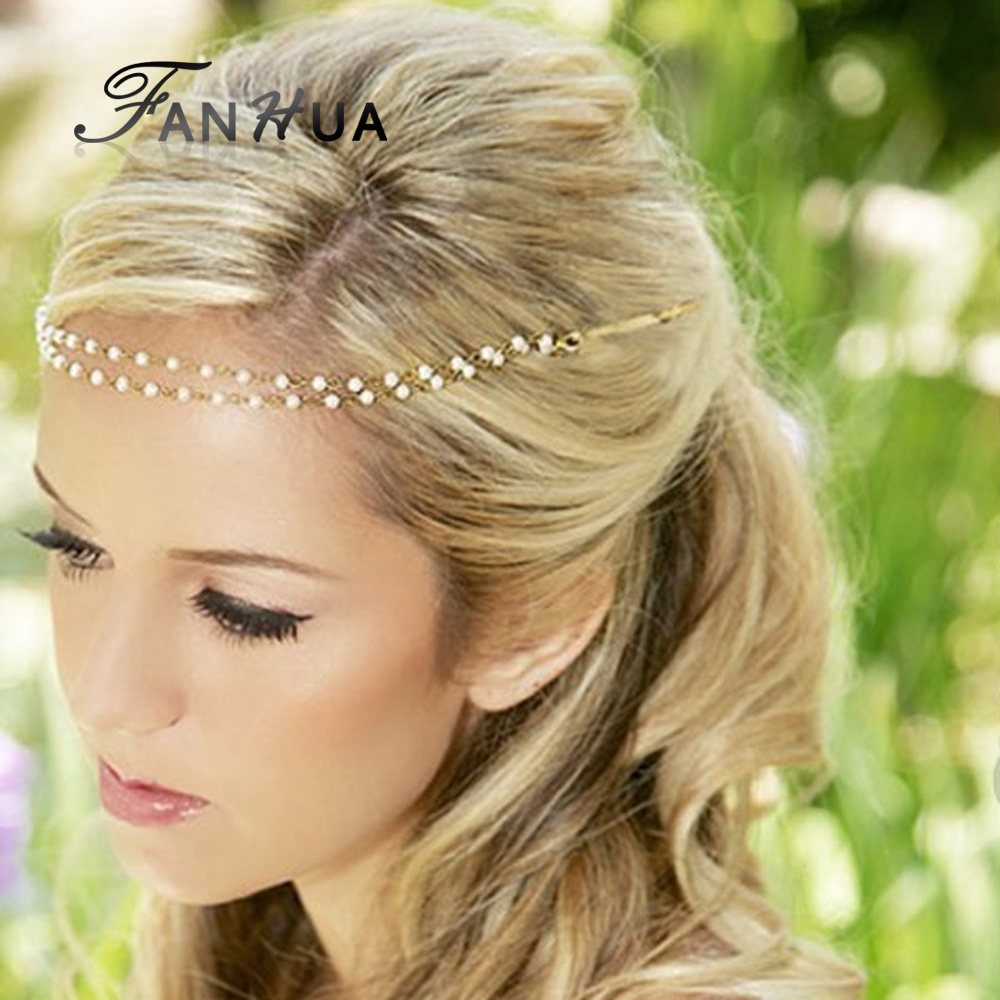 A New Life Hartz Curly Wedding Hairstyle: New Wedding Hair Jewelry Designer Simulated Pearl Chain