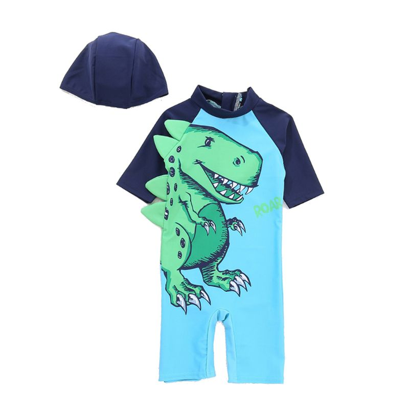 New Anti UV Swimsuit With Dinosaur Printed Green Swimming Cap Short Sleeve Quick Dry Children Baby Boys Jumpsuit Diving Jersey in Swimwear from Mother Kids