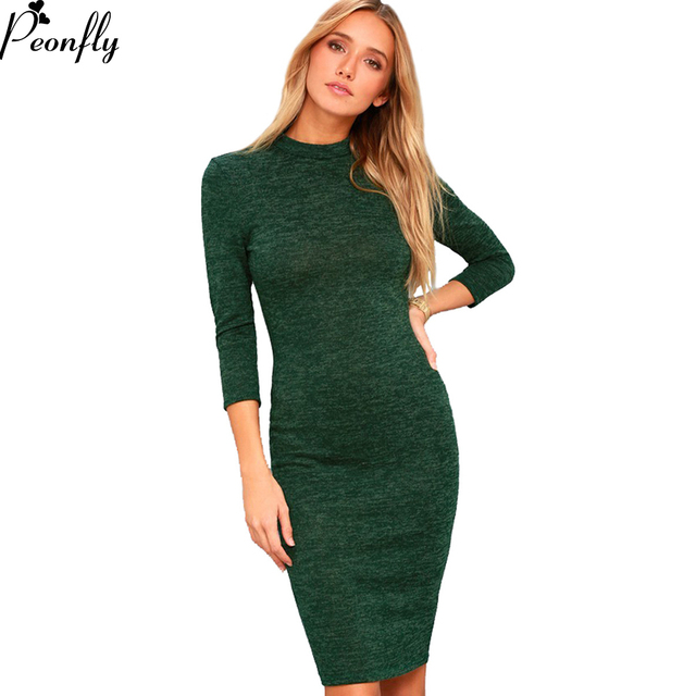 9b97350cddac PEONFLY Women Tight Dress Casual O-neck Long Sleeved Appliques Dresses Sexy  Bodycon Bandage Knee Length Pencil Dress Autumn