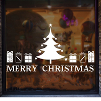 Large Size Removable Shop Glass Window Sticker Christmas Tree Gift Stickers Merry Christmas Wall Stickers
