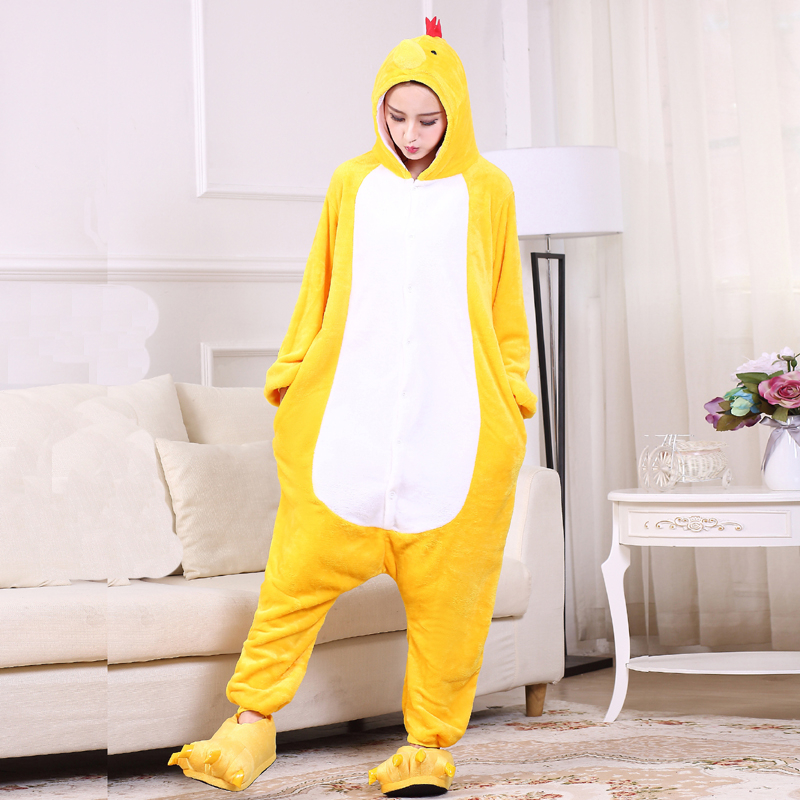 Yellow Chick Kigurumi Onesie For Adults One-Piece Flannel Animal Pajamas For Halloween Jumpsuit Cosplay Party Costume Sleepwear (5)