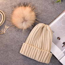 2017 CLH19  style winter hat woman & children sleeve cap heat knit hat raccoon hair ball cap  mother-child hat
