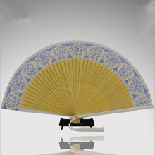 Top Fashion Leques Japoneses Ladies Bamboo Folding Silk Hand Fans,Wholesale Personalized Fan of Old Wedding Decoration 6