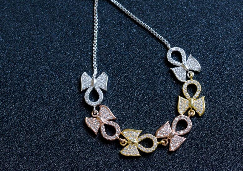 YTF49 925 Silver Creative Butterfly knot Micro zircon Adjustable Bead Bracelet Handwear