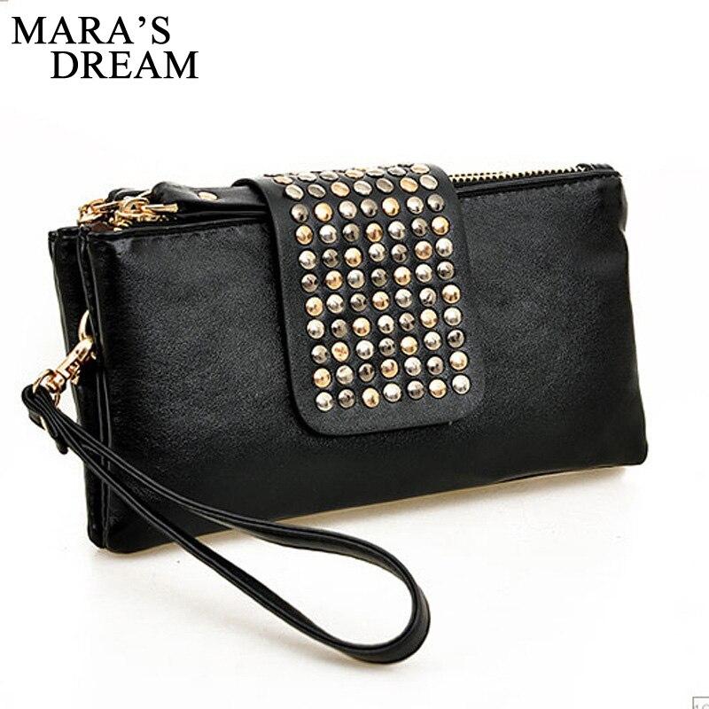 Mara's Dream Women Clutch Bag Fashion Rivet Large Capacity Leather Wallet Purse Party Evening Handbags Phone Bag Bolsa Feminina