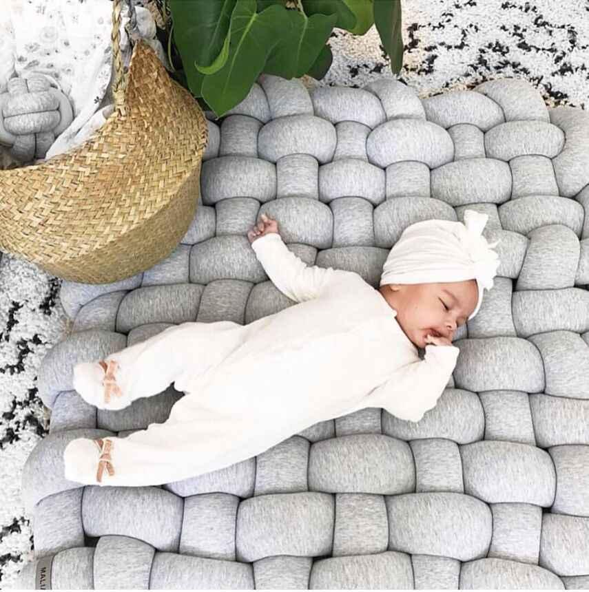 Завязанный плюшевый детский коврик для сна мягкая хлопковая квадратная плетеная детская палатка ковер модный Декор комнаты Младенцы Малыши Дети