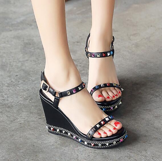 d7de3f8d6 Concise style wedge shoes platform sandals for women black apricot  slingbacks shoes colorful rivet decoration studded cute shoes-in Women's  Sandals from ...