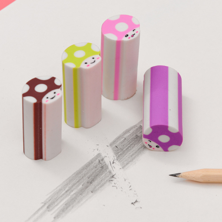 1pcs/pack Cute Mushroom Rubber Eraser Student Stationery Pencil Eraser Kids