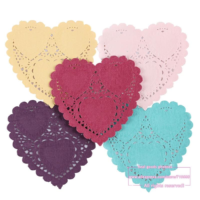 Des Photos De Coeur #9: 4 Pouces Coloré De Coeur De Dentelle Napperons/Doyley Mat Bricolage  Scrapbooking/Décoration De