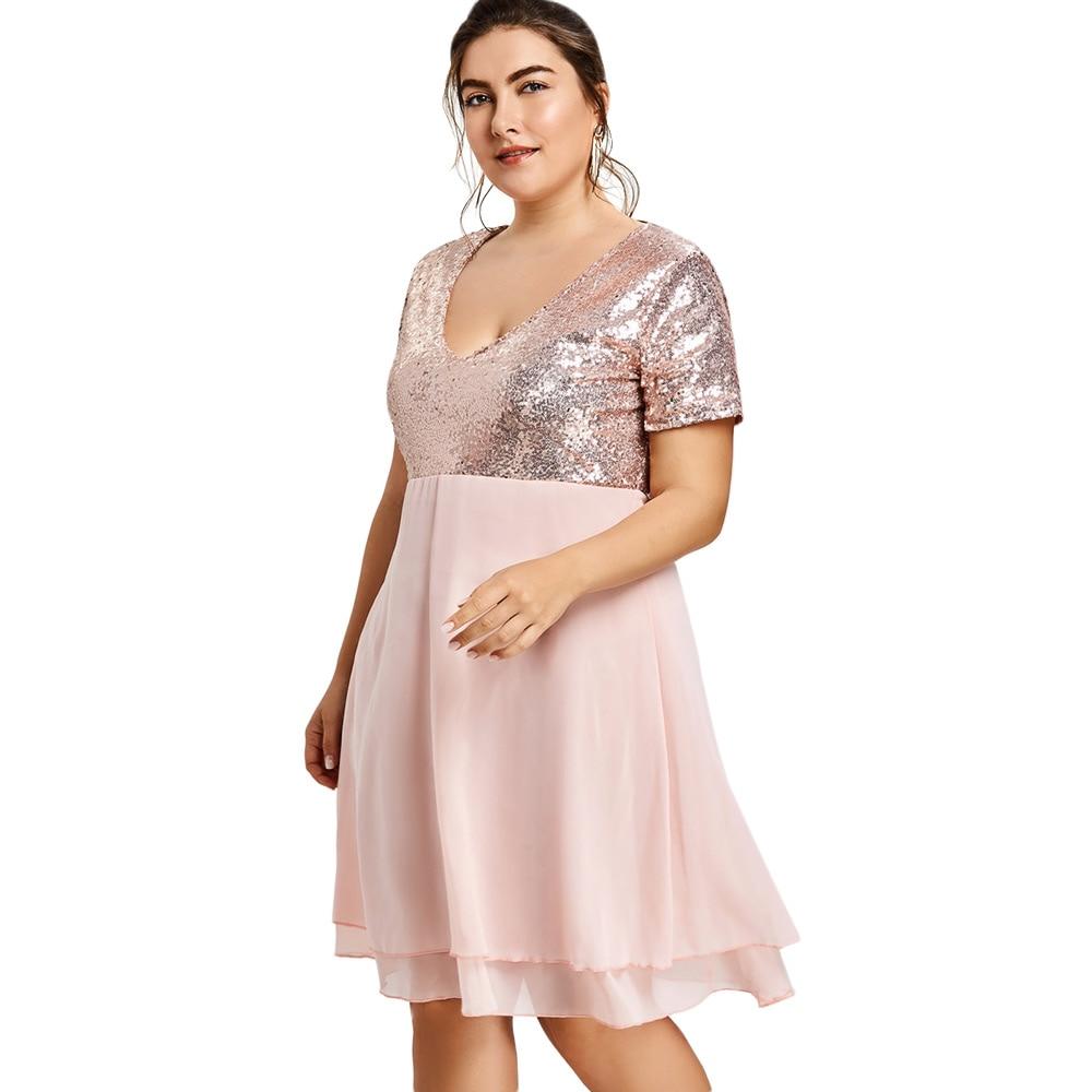 b06fb64e9372d US $15.29 49% OFF|Kenancy Plus Size 5XL Glitter Sequin Vintage Dress  Elegant Style Pink Girls Party Dress V Neck Short Sleeves Female  Vestidos-in ...