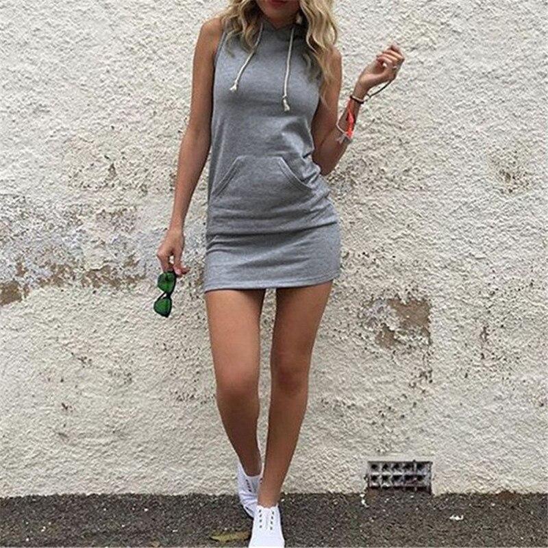 Summer Women Slim Sport Hooded Dress 2019 Pullover Mini Dresses Casual Beach Short Dress With Pockets Bandage Vestidos Plus Size