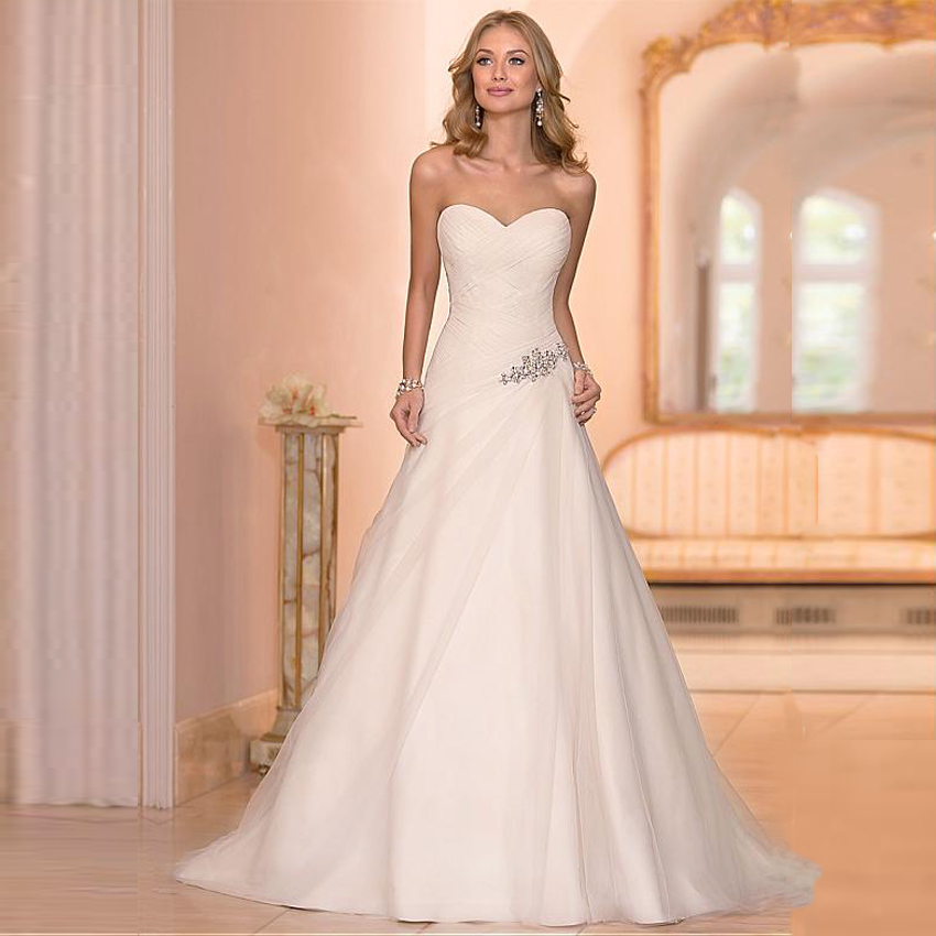 Beaded cheap organza beach wedding dresses china ball gown Inexpensive beach wedding dresses