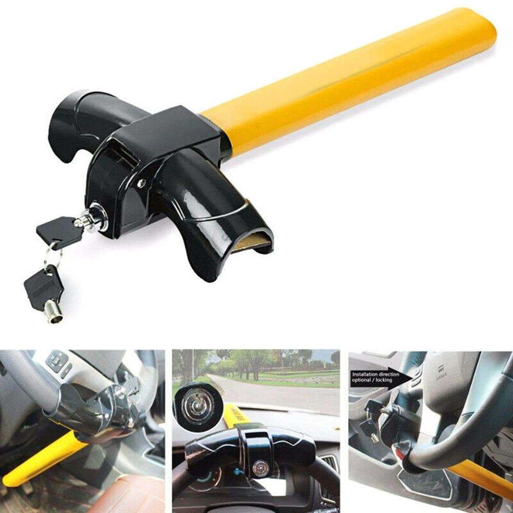 T Type Car Semi-automatic Steering Wheel Lock Anti-theft Device Security Lock 2keys Heavy Duty Locking Mechanism Prevent Theft