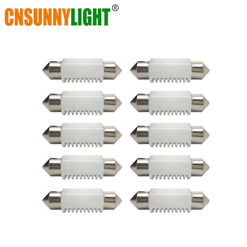 CNSUNNYLIGHT 10pcs Festoon LED Ceramic White SMD Car License Plate Light Auto Interior Dome Reading Lamp Bulbs DC 12V 24V 5500K festoon 42mm 6w 540lm 12 smd 5630 led white light car reading lamp license plate light 12v page 5