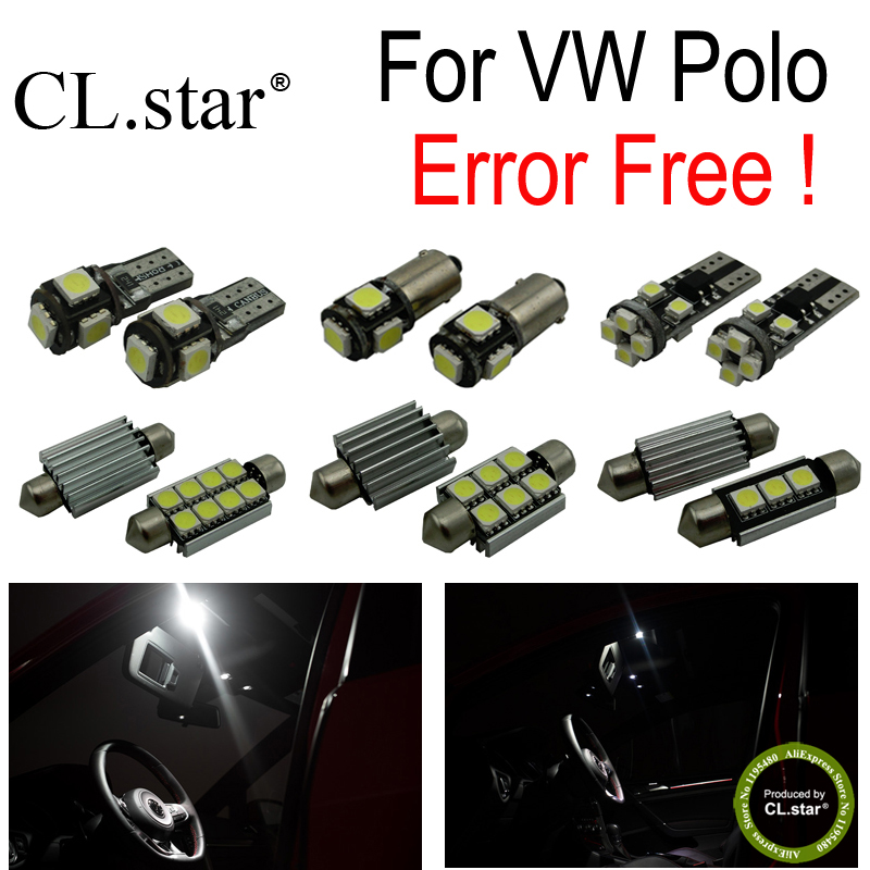 12pc X canbus error free for Volkswagen VW Polo Mk5 Polo 6 R LED lamp Interior Light  Kit Package (2009+) canbus error free for volkswagen vw golf 6 mk6 gti led interior light kit package 2010 car stying 8pcs