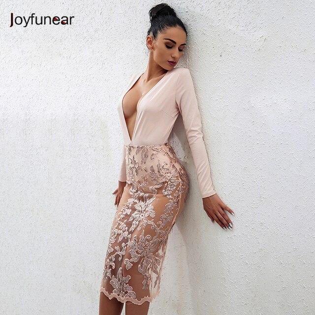 Joyfunear New Handmade Sexy Deep V-neck Lace bottom Dress Elegant Hollow  Out Dress Long 0432a95aa2a5