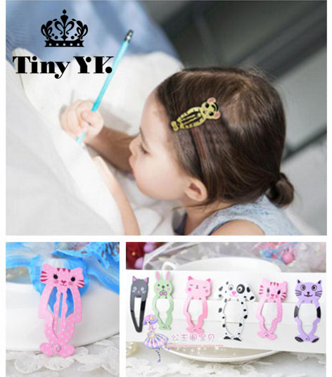 6pcs lot Fashion Girl Animal Hairpin   headwear   kid's barrettes Hair clips Jewelry Snap Clips Children Hair Accessories