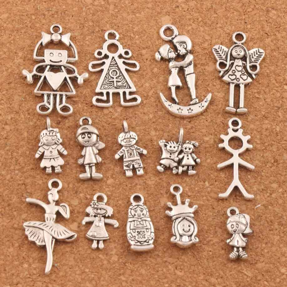 28 pcs Pretty Girl Boy Malaikat Charm Beads Alloy Perhiasan Buatan Tangan DIY Liontin LM54