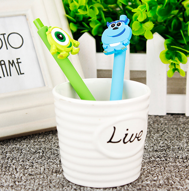 2 pcs/set hot 0.5mm Funny Monsters University Gel Pen Black Pen Candy Color Cartoon Sulley Popeyes Pens for Kid Gift Stationery