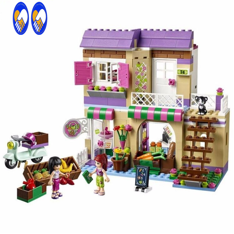 (A Toy A Dream)New Friend Series City Food Market Building Blocks Friends figures Bricks Gift Toys Compatible Friends a toy a dream lepin 02043 718pcs building blocks bricks new genuine city series airport terminal toys for children gifts