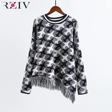 RZIV 2016 tassel sweater informal winter garments ladies lengthy sleeve knitted sweater ladies sweaters and pullovers neck sweater ladies