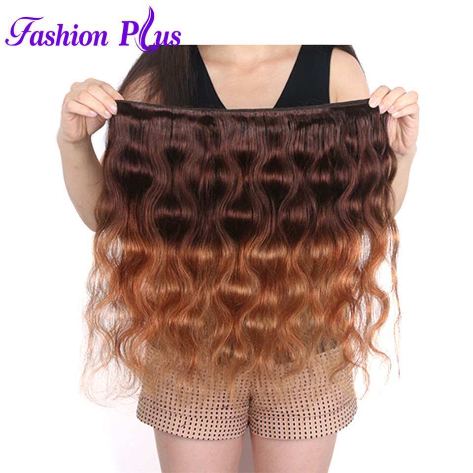 Fashion Plus Ombre Brasilian Hair Body Wave T4 / 30 Human Hair Weave - Menneskehår (hvid) - Foto 5