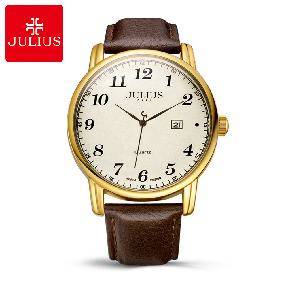 Hot Men Business Clasic Dress Wrist Watches Fashion Casual Quartz Male Calendar Leather Band Watch Luxury Brand Julius 508 Clock onlyou brand lovers watch women men quartz genuine leather wrist watches fashion business female male clock with calendar 81092