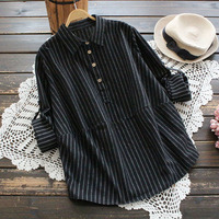 Autumn Brushed Cotton Blouse Long Sleeve Roll Up Casual Tops Blusas Turn Down Collar Vertical Striped Shirt Women Black Gray