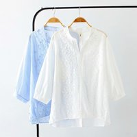 Plus size V Neck long sleeve cotton blouses women 2018 white & blue Jacquard Embroidered shirt spring & autumn ladies tops 4XL