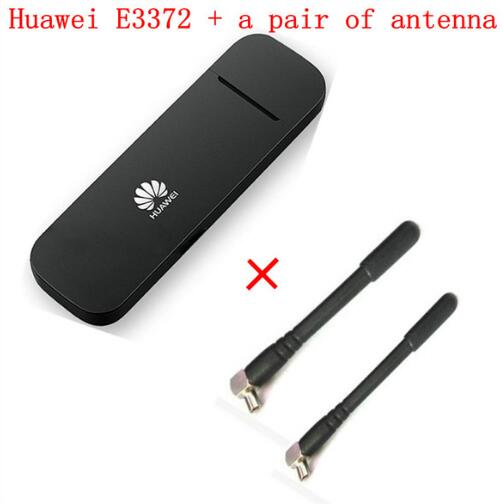 Unlocked Huawei E3372 E3372h-153 plus pair antenna 150Mbps Modem 4G LTE Dongle USB wireless unlock 4g universal modem usb dongle huawei e3272s 153 lte 4g usb modem plus 2pcs antenna