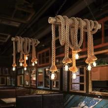 Lámpara colgante de cuerda Vintage para Loft, lámpara Industrial creativa con personalidad, Bombilla Edison, estilo americano para decoración de sala de estar