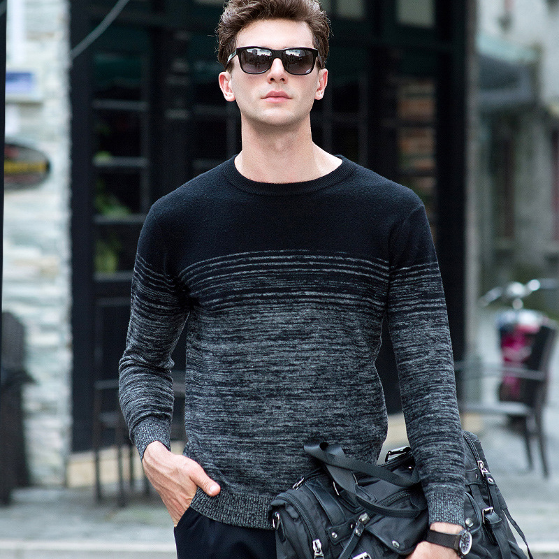 Pullover Men Knitwear 100% Wool Spring Mens Sweater Pullovers Male Casual Sweaters Classic Simple Print Color Men Sweater 16