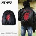 Fina de alta calidad Bordado HEYBIG Chaqueta de Bombardero Dragón rojo gótico Corea Chaquetas de Moda abrigo abrigo de cuello v Tamaño Asiático