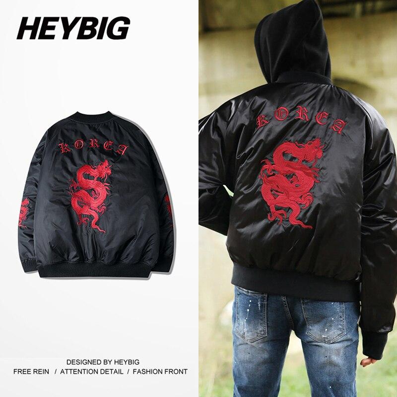 High quality Fine Embroidery Bomber Jacket red Dragon HEYBIG gothic Korea Fashion Jackets v neck coat