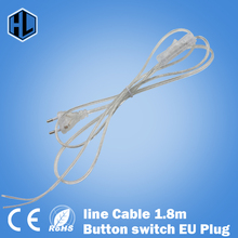 line Cable 1.8m On Off Power Cord For LED Lamp with Button switch EU Plug Light Switching Transparent Wire Extension