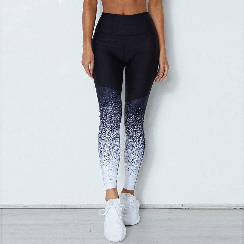 New fashion glitter pants Women Casual Elastic High Waist Leggings print Pants broeken woman summer 2018