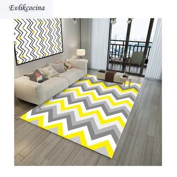 Alfombra Para dormitorio con ondas amarillas y grises, Tapete de suelo Para...