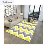 Free Shipping Yellow Gray Wave Carpet Room Area Rug Floor Mat For Living Room Bedroom Geometric Design Tapete Para Sala Alfombra