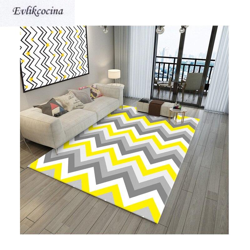 Livraison gratuite jaune gris vague tapis chambre tapis tapis de sol pour salon chambre Design géométrique Tapete Para Sala Alfombra