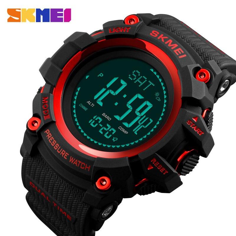 SKMEI мужские спортивные часы, модные цифровые часы, альтиметр, барометр, компас, температура, прогноз погоды, электронные Роскошные мужские ч...